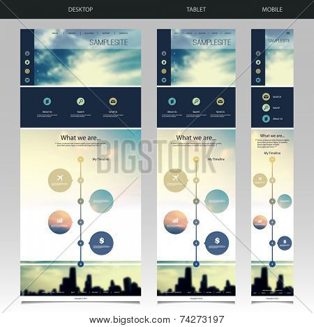 One Page Website Template with Blurred Background - Sunset and Chicago Skyline Pattern Header Design - Desktop, Tablet, Mobile Version