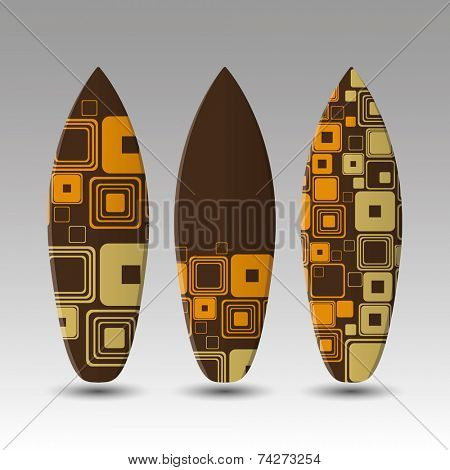 Vector Surfboards Design Template with Rounded Oldschool Square Pattern