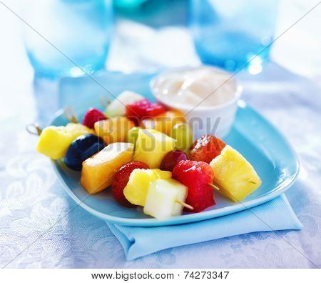 fruit kabob on bamboo skewers