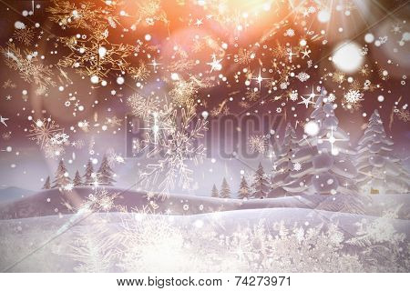 Snow falling against cream snow flake pattern design