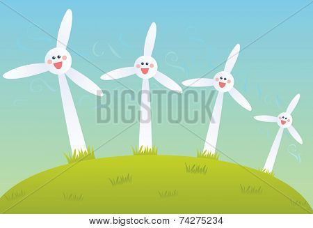 Row of cartoon wind mills