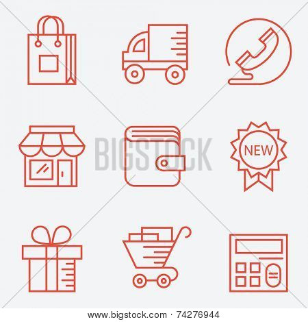 Shopping icons �¢�?�? thin line style, modern flat design