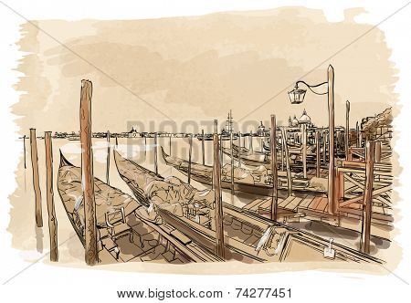 Venice. Quay Piazza San Marco. Gondolas on the water. Vector drawing. Eps10
