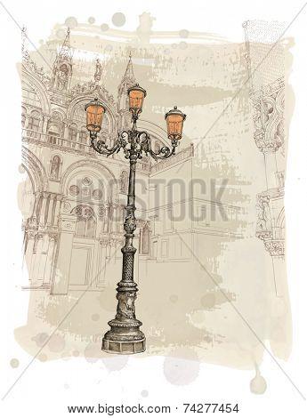 Venice. Piazza San Marco. lantern on St. Mark's Square. Vector illustration. Eps10