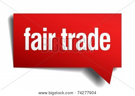Fair Trade Red 3D Realistic Paper Speech Bubble