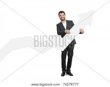 successful businessman holding white pointer and smiling. isolated on white background