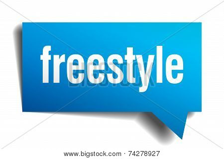 Freestyle Blue 3D Realistic Paper Speech Bubble