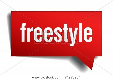 Freestyle Red 3D Realistic Paper Speech Bubble