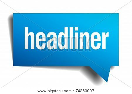 Headliner Blue 3D Realistic Paper Speech Bubble