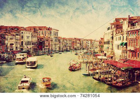 Venice, Italy. Gondolas on Grand Canal, Italian Canal Grande. Vintage, retro style