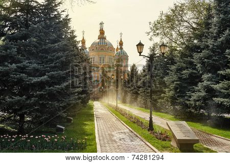 Ascension Cathedral In Sunlight In Almaty
