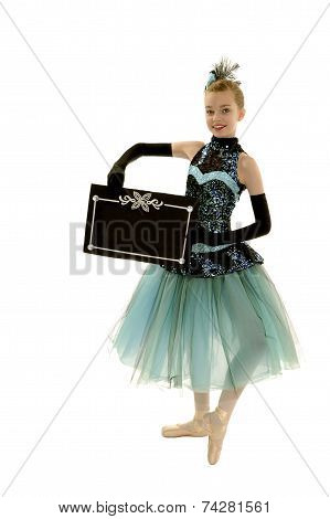 Young Elegant Ballerina Holding Blank Sign