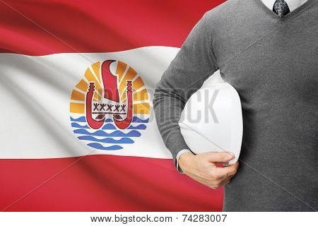 Engineer With Flag On Background - French Polynesia
