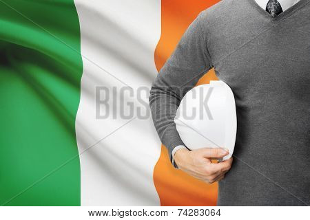 Engineer With Flag On Background - Ireland