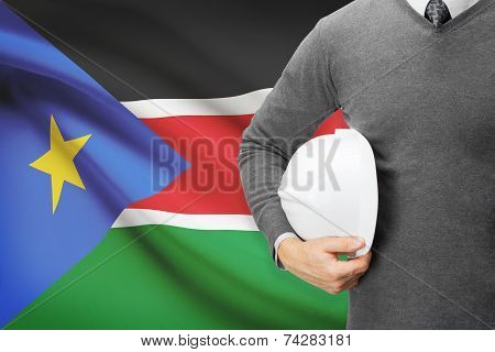 Engineer With Flag On Background - South Sudan