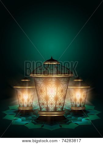 Diwali Lanterns Shining Over Dark background