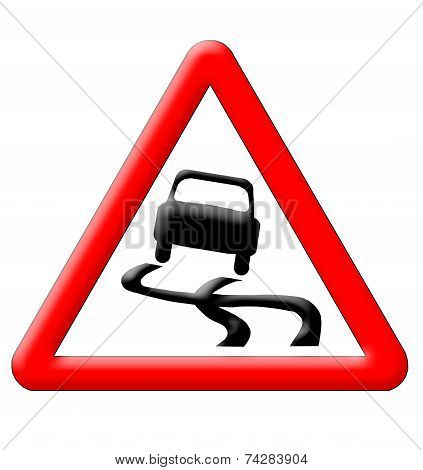 Slippery Road Traffic Sign