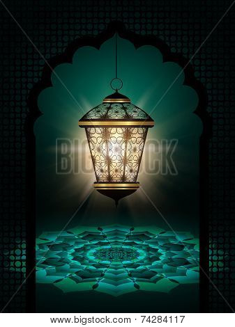 Diwali Lantern Shining Over DarkBackground