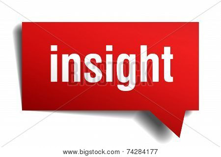 Insight Red 3D Realistic Paper Speech Bubble