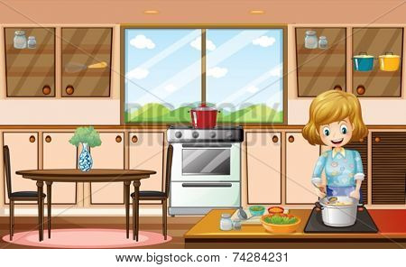 Illustration of a woman cooking in the kitchen
