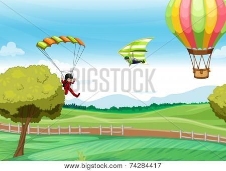 Illustration of people doing parachute