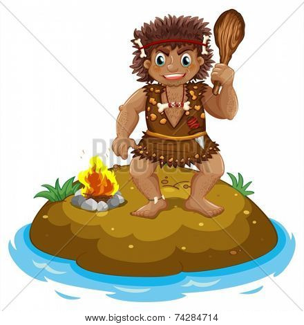 Illustration of a caveman on an island