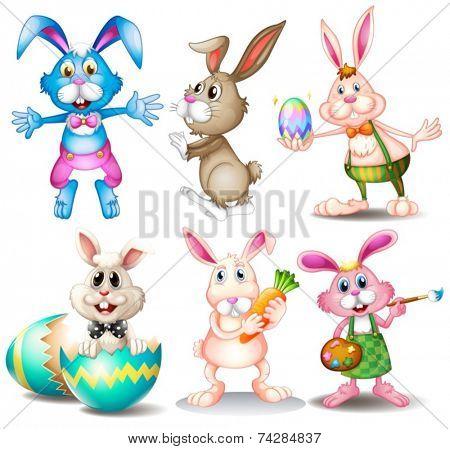 Illustration of many easter rabbits