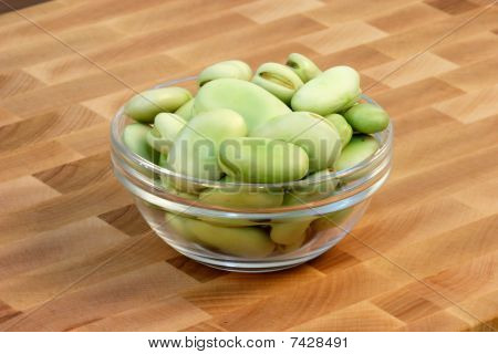 Faba  Beans  On Fine Cutting Board