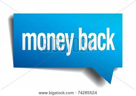 Money Back Blue 3D Realistic Paper Speech Bubble