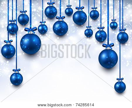 Abstract arc background with blue christmas balls. Vector illustration.