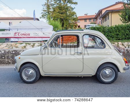 Vintage Fiat 500 Car At  L'eroica, Italy