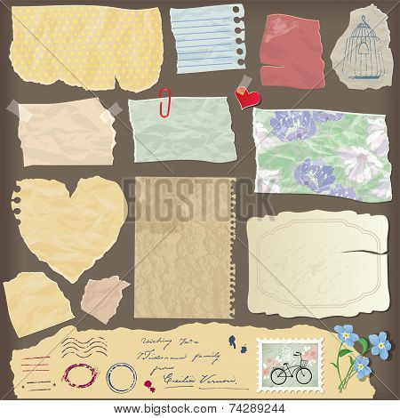 Set Of Old Paper Peaces - Different Aged Paper Objects, Vintage Backgrounds And Elements