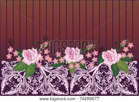 illustration with pink rose decorated ornament element on dark brown background