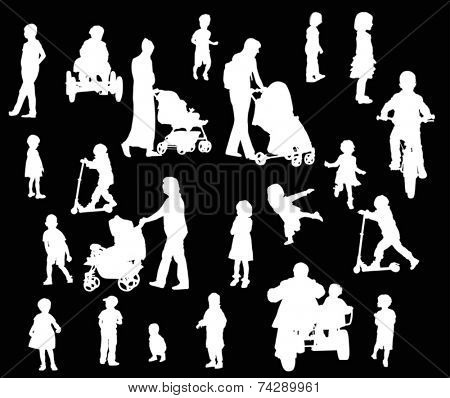 illustration with parents and children silhouettes isolated on black background