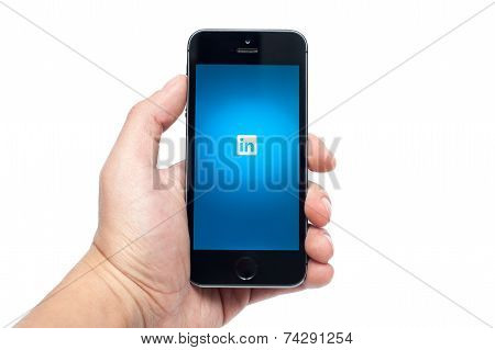 iPhone 5s with LinkedIn app