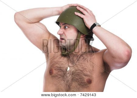 Man in a steel helmet