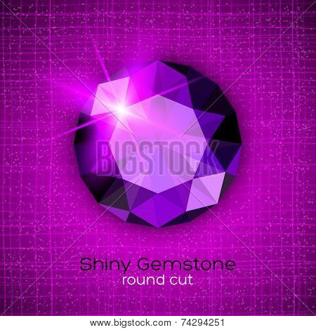 Gemstone round shaped on textured background