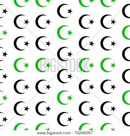 Star And Crescent Symbol Seamless Pattern