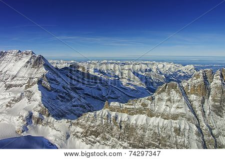 Jungfrau Ridge Helicopter View In Winter