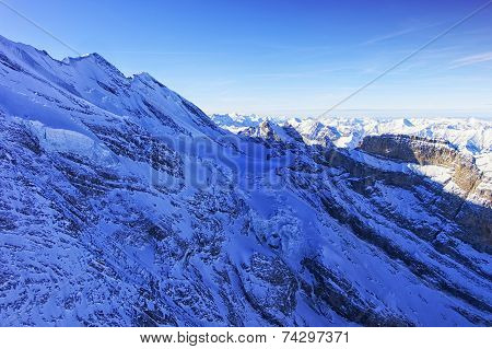 Peak And Coomb In Jungfrau Region Helicopter View In Winter