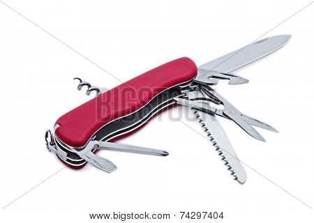 Multipurpose multitool pocket knife isolated on white