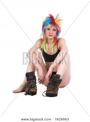 The Girl With Multi-coloured Hair