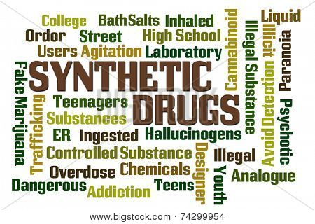 Synthetic Drugs word cloud on white background
