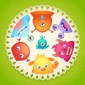 pic of monster symbol  - Cute cartoon monster party funny alien character round paper design vector illustration - JPG