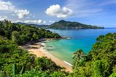 stock photo of singing  - Gorgeous Laem Sing Beach at morning Taken from high point Phuket Thailand - JPG