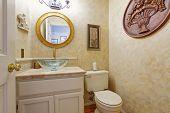 foto of bathroom sink  - Bathroom interior in creamy tone - JPG