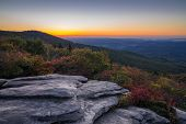 stock photo of blue ridge mountains  - Sunrise from the Rough Ridge Overlook right off the Blue Ridge Parkway in North Carolina - JPG