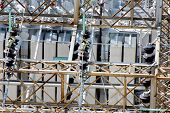 image of substation  - electrical energy and power substation transformers insulators - JPG