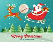 picture of christmas claus  - Santa Claus on sleigh with reindeer in snowy Christmas night landscape - JPG