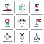 picture of award-winning  - Flat line icons set of competitive advantage solution business gamification elements winning strategy ideas motivation and achievement - JPG